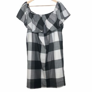 Who What Wear Plaid Off the Shoulder Dress Black